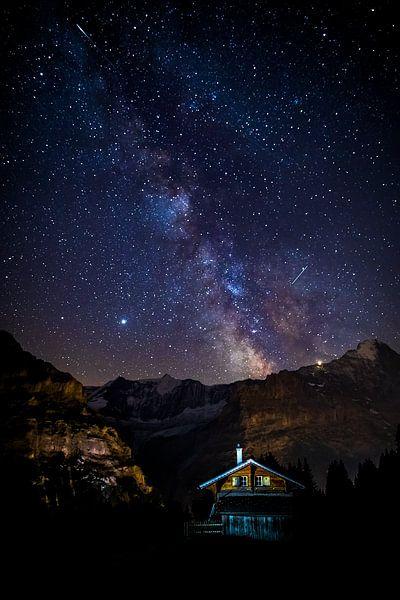 Melkweg boven de Eiger in Zwitserland van Maurice Haak