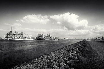 Terminal à conteneurs dans le port de Rotterdam avec 2 navires porte-conteneurs sur Rick Van der Poorten