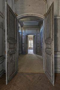 Doorgang met prachtige deuren in een verlaten Chateau