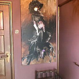 Kundenfoto: Portrait der Marchesa Luisa Casati mit einem Windhund, Giovanni Boldini von Meesterlijcke Meesters