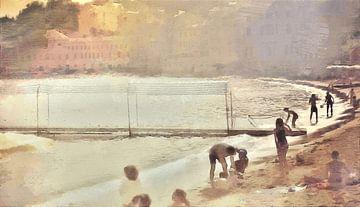 Italië - Gezelligheid aan het Strand - Italiaanse Rivièra - Geschilderde Tekening