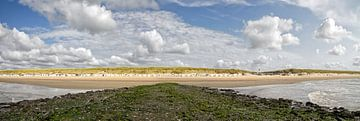 Panorama strand van Texel / Panoramic photo Texel beach van Justin Sinner Pictures ( Fotograaf op Texel)