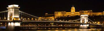 Nachtfoto van de Kettingbrug in Boedapest  van Willem Vernes
