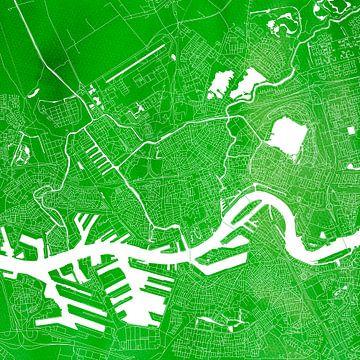 Rotterdam Stadskaart | Groen  Vierkant van Wereldkaarten.Shop