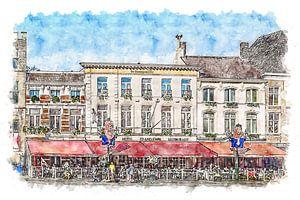 Grand Café Hotel De Bourgondiër & Brasserie Leijnse in Bergen op Zoom (Aquarell)