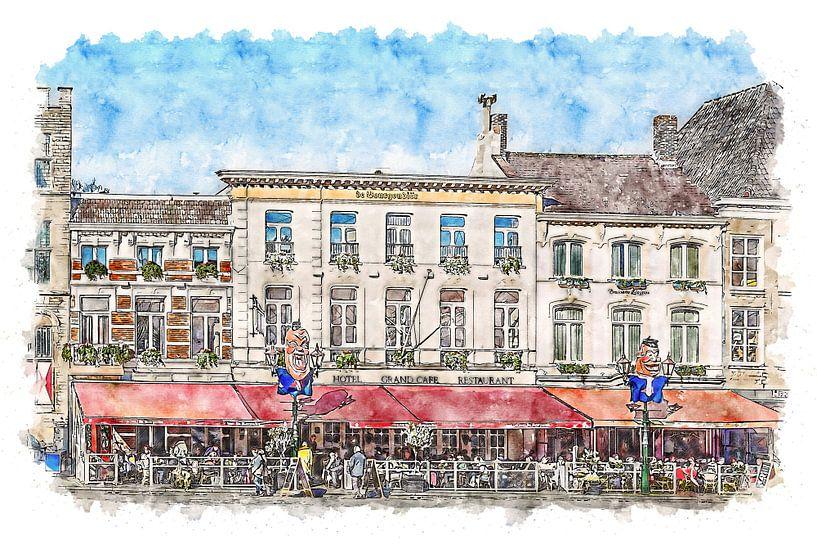Grand Café Hotel De Bourgondiër & Brasserie Leijnse in Bergen op Zoom (Aquarell) von Art by Jeronimo