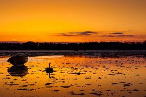 Zonsondergang met vissersboot van