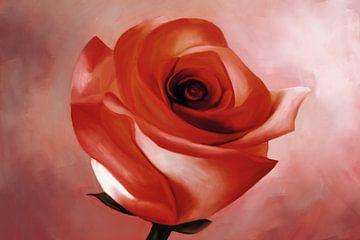 Schilderij van een rode Roos