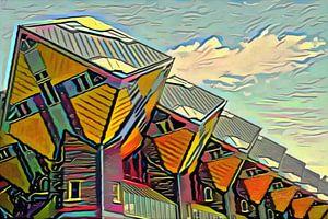 Schilderij Kubuswoningen Rotterdam in de stijl van Picasso
