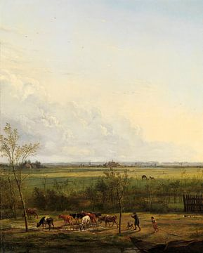Vue de loin des prairies de 's-Graveland, Pieter Gerardus van Os