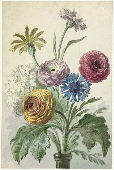 Boeket bloemen in de hals van een groene vaas, Willem van Leen