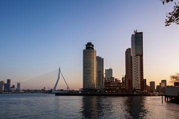 Panoramablick auf die Erasmusbrücke und den Kopf des Südens in Rotterdam, Niederlande. von Tjeerd Kruse