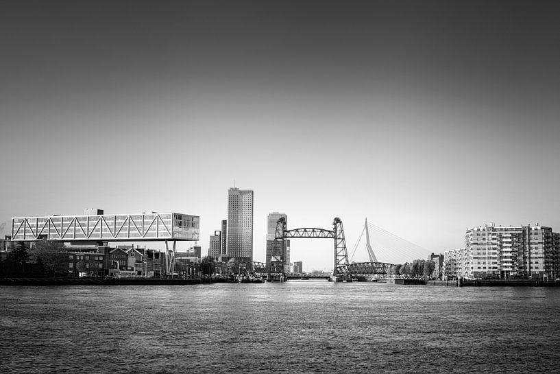 stadsgezicht van Rotterdam met links De Hef en rechts de Erasmusbrug van Tjeerd Kruse