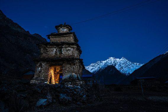 Zonsondergang in de Himalaya.