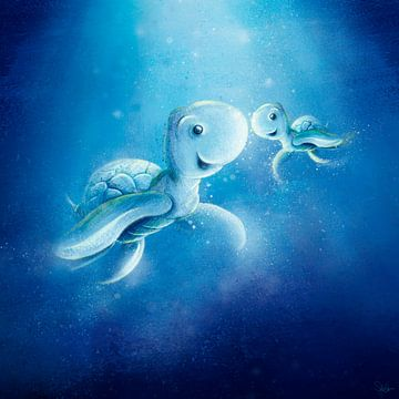 schattige blauwe schildpad met baby van Stefan Lohr