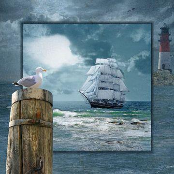 Collage mit Segelschiff und Leuchtturm von Monika Jüngling