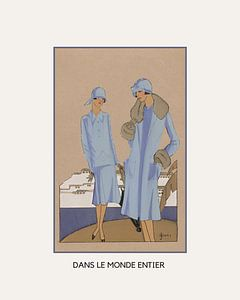 Dans le monde entier | Historischer Art Deco Mode Druck | Retro Mode | Historische Klassische Werbun