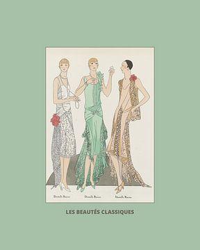 Les beautés classiques - pastel, boho, vintage Art Deco Fashion Print van NOONY