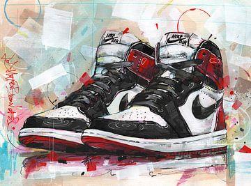 Nike air Jordan 1 Retro Hohe 'black toe' Gemälde von Jos Hoppenbrouwers