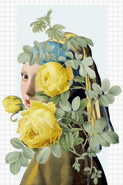 Girl with the Pearl Earring - The Yellow Roses Edition sur Marja van den Hurk