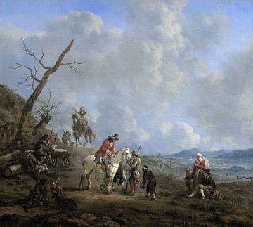 Landschaft mit Reitern, Jägern und Gesinde, Johannes Lingelbach