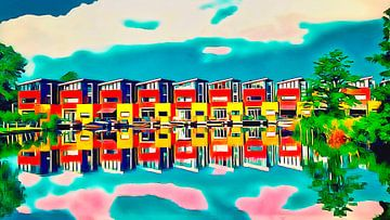 Natuurlijk gespiegelde huizen van Digital Art Nederland