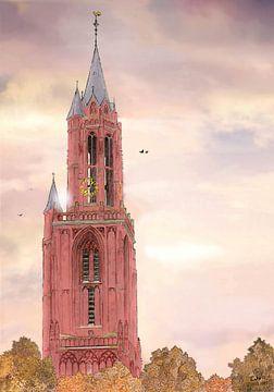 Artwork: Maastricht, Het Vrijthof, Sint-Janskerk van Edo Illustrator