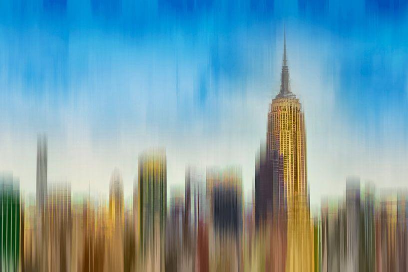 Abstracte skyline Manhattan New York van Arjen Roos