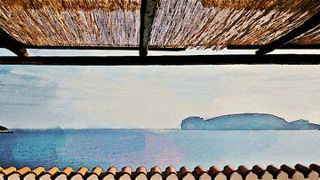 Vakantie! - Uitzicht op Baai - Capo Caccia - Sardinia - Geschilderde Tekening