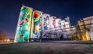 Graffiti Silo's tramkade van Emmory Schröder