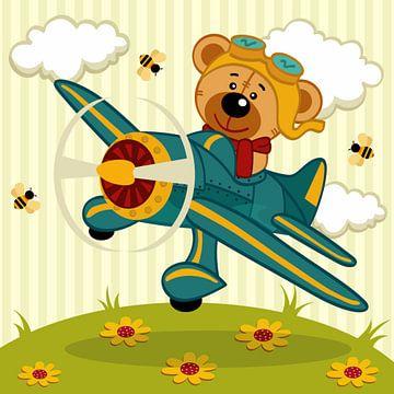 Teddybär in einem Flugzeug mit Bienen von Atelier Liesjes