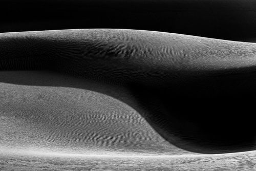 Zandduin in zwart-wit met schaduw | Iran