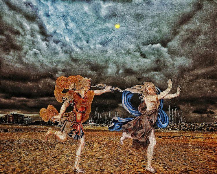 Daphne door Apollo achtervolgd tot aan Cadzand aan Zee van Ruben van Gogh