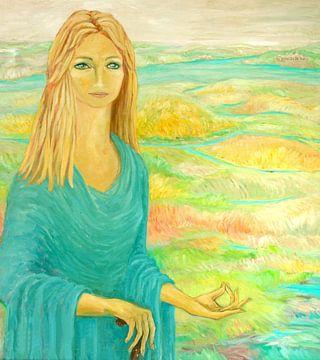 Portret van een mediterende vrouw van Nisangha Masselink