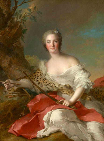 Porträt von Madame Bonnier de la Mosson als Diana, Jean-Marc Nattier von Meesterlijcke Meesters
