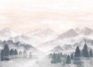 Mist in de bergen van Petra van Berkum