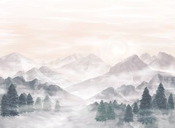 Nebel in den Bergen von Petra van Berkum