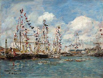 Bateaux décorés de drapeaux dans le port de Deauville, Eugène Boudin sur