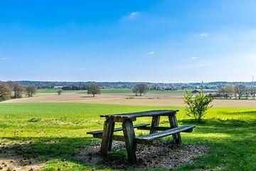 Picknicktafel aan de rand van een mooi veld van Patrick Verhoef
