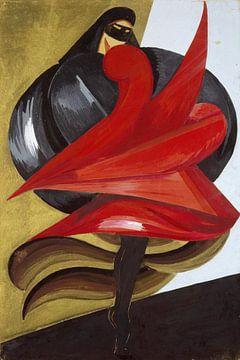 Masker voor dames. Schets voor kostuum voor Shakespeare's Romeo en Julia, Aleksandra Ekster, 1921