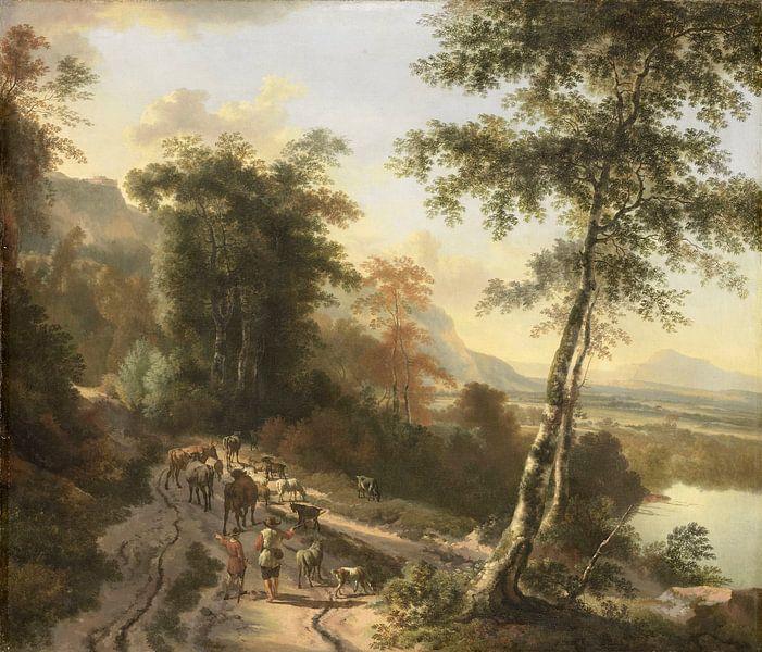 Landschaft mit Viehzüchtern, Jan Hackaert von Meesterlijcke Meesters