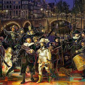 De Nachtwacht van Rembrandt in een creatief jasje van Dennisart Fotografie