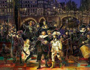Die Nachtwache von Rembrandt in einer modernen und fröhlichen Jacke. von Dennisart Fotografie