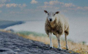Ein Schaf am Meer von Digitale Schilderijen