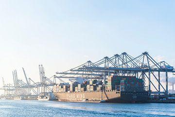Containerschip in de haven van Rotterdam bij de container terminal van