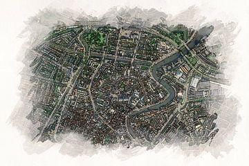 Haarlem von oben im Aquarellstil von Aquarel Creative Design