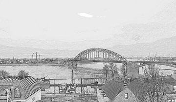 waalbrug tekening  nijmegen  van Groothuizen Foto Art
