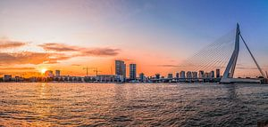 Skyline Rotterdam met zonsondergang van