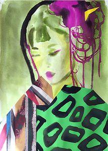 Geisha im Grünen Kimono