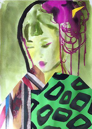 Geisha in Green Kimono van Helia Tayebi Art